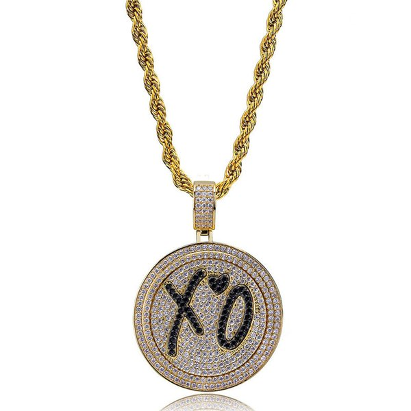 Men Hip Hop Jewlry Ice Out 18K Gold Plated Necklace Pave Micro CZ Hiphop Round Pendant Necklaces