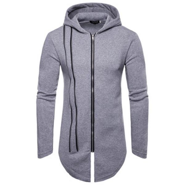 Autumn winter Hoodies Men Brand Black Cardigan Zipper Longer Hoodie Men Hooded Mantle Hip Hop Clothing Cloak Hoodie Outerwear