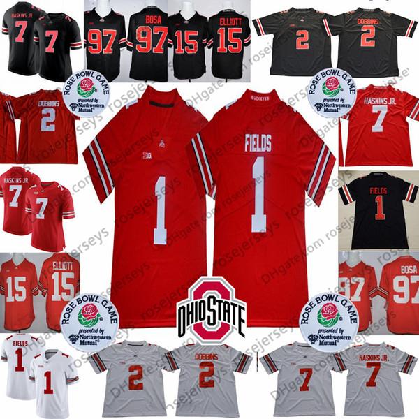 2019 Ohio State Buckeyes #1 Justin Fields #2 JK Dobbins #7 Dwayne Haskins Jr. #97 Nick Bosa #15 Elliott OSU Rose Bowl Jerseys