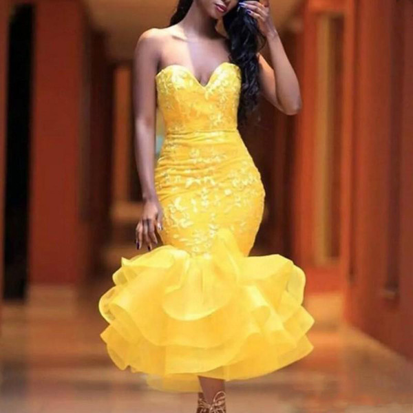 Yellow Tea Length Mermaid Prom Gowns Sweetheart Lace Appliques Tiered Sheath Short Party Dresses Girls Formal Wear Custom Made