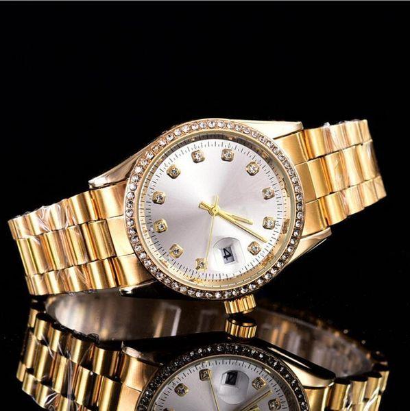 Relogio masculino mens montres top marque de luxe Designer automatique cadran blanc complet or en acier inoxydable horloge masculine grosse montre