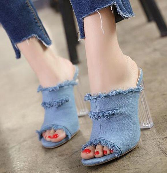 2019 Fashion denim blue sandals women designer slippers high heels crystal shoes size 35 to 40
