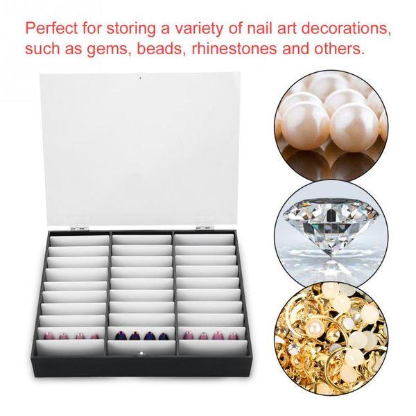 Empty Nail Tips Makeup Organizer Storage Box Nail Art Decoration Rhinestones Bead Container Fake Display Case Manicure Tool