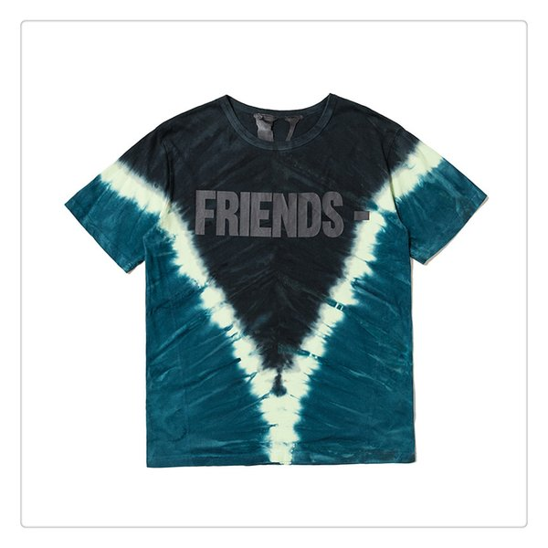19SS VLONE Houston limited tie dye rendering gradient black big V men and women couple loose short-sleeved T-shirt tide