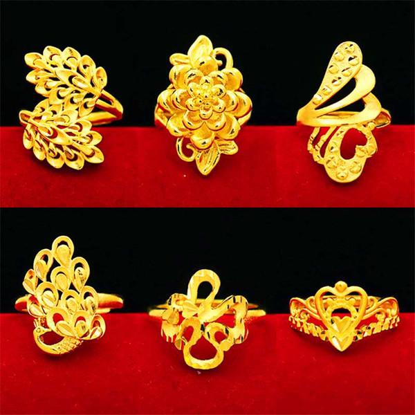 Imitación modelos femeninos de oro Anillo grande de moda de Europa y América Anillo de cobre chapado en oro flor flor