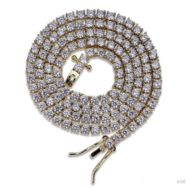 3MM 18K Gold Plated Mens Tennis Chain Necklace Iced Out Lab Diamond 16 18 20 24 Inch