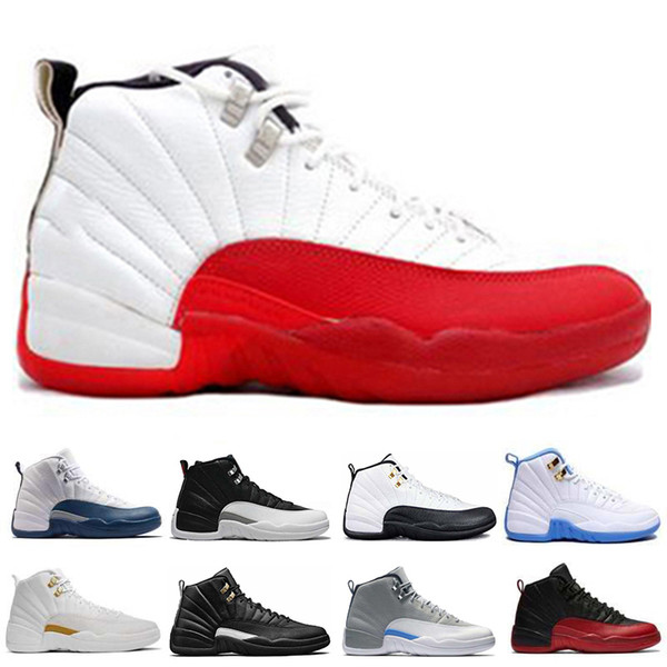 Shoes Basketball 12 12s Taxi Playoffs Mens Sneakers Flu Game The Master Gym Varsity Red French University Blue Wolf Grey Sport Free Shipping