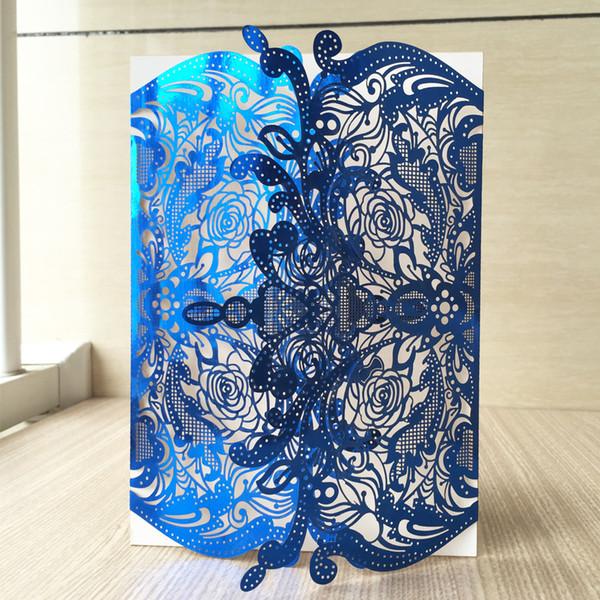 Compre Azul Real Se Levantó Rey Corona Corte Por Láser Papel Perla Envolver Castillo Invitación De Boda Tarjeta De Bolsillo Fiesta De Cumpleaños Cena