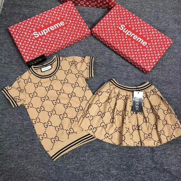 Designer Luxury Girl Suit Summer Korean Children tutu Dress Short Sleeve Child Stripe Dress baby girls autumn clothing sets set 092005