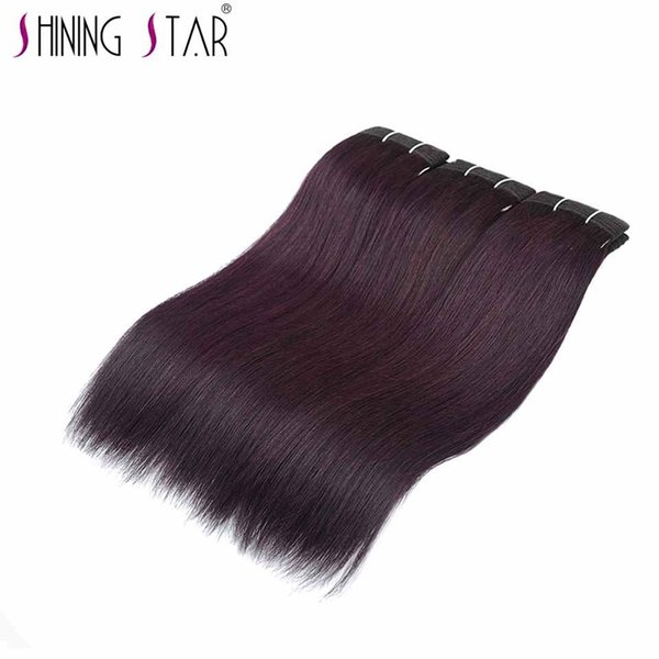 Dark Red Peruvian 3 Straight Hair Bundles Grape Purple Colored Human Hair Weave Shining Star Hair Extension Non Remy Can Be Dyed