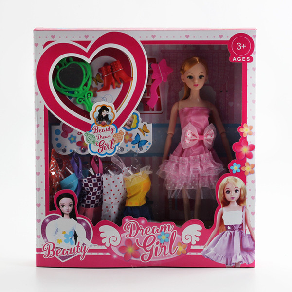 Barbie Doll Toys Suit Will Gift Box Girl Gift Facelift Wedding Dress Solid Doll