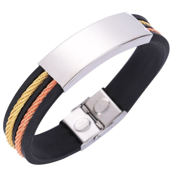 Men Punk Style Stainless Steel Silicone Bangle Wristband Cuff Bracelet