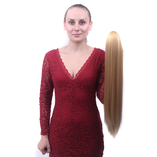 Synthetic Claw On Ponytail Hair Extension Fake Ponytail Hairpiece For Women Straight Tail Hair Extension 22INCH