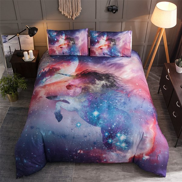 BEST.WENSD Bedding Sets 2/3pcs quilt cover With Pillow Cases Size EU/AU/US Queen King Watercolor Unicorn bed sets Drop Shipping