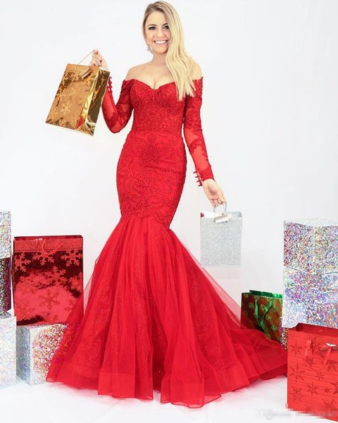Red Off the Shoulder Long Sleeves Mermaid Prom Dresses 2019 New Arrival Beaded Lace Tulle Teens Formal Evening Party Gowns