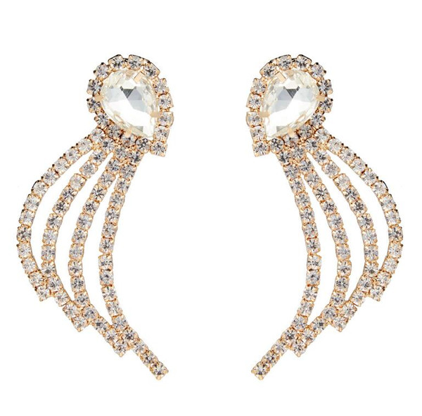Hot explosions Europe and America exaggerated drop-shaped geometric claw chain acrylic diamond fashion party earrings