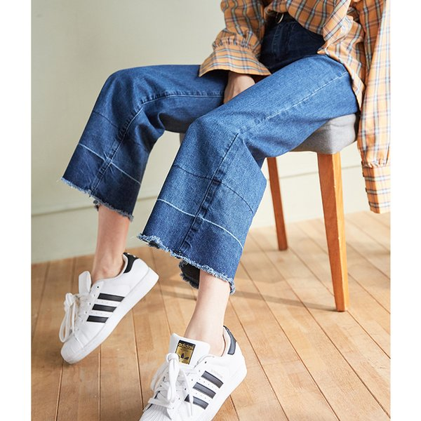 Mulheres Solta Jeans De Cintura Alta Fur-trimmed Largo Flare Sino Calças Inferiores Coreano Mãe Rasgado Mom Boyfriend Boot-cut Palazzo