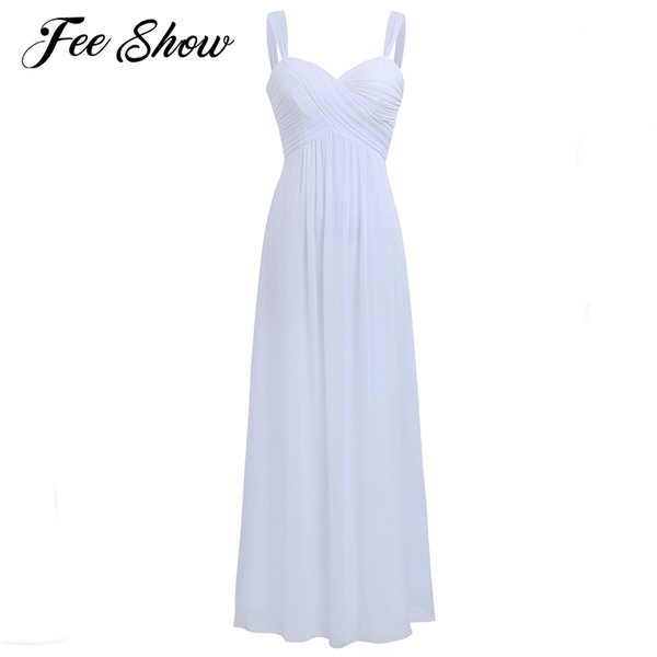5d17f32f451e4 2019 Summer Dress Long White Maxi Dress Vestido De Festa Longo Blanco  Chiffon Bridesmaid Formal Dress Women Elegant For Wedding From Yage_shop,  $29.65 ...
