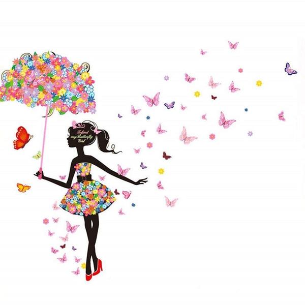 Schöne Blumenmädchen mit Regenschirm abnehmbare Vinyl DIY Wand Kunst Aufkleber Aufkleber Dekor für Schlafzimmer / Wohnzimmer / Spielzimmer / Store / Home Office / h