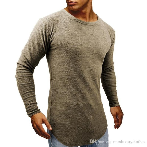 Mens Longline Curved Designer Tshirts Spring Autumn Muscle Slim Fit Tops Long Sleeved Tees