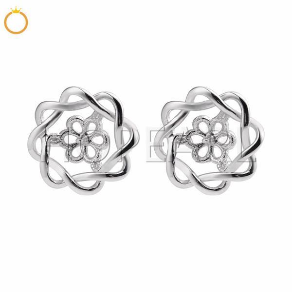 Pearls Earring Blanks like flower 925 Sterling Silver Pearl Mountings Women Jewelry DIY Findings 5 Pairs
