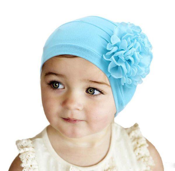 Новый стрейч хлопок ребенка рябить цветок тюрбан шляпы повязка на голову головные уборы Cap детские шапочки глава wrap волос группа аксессуары