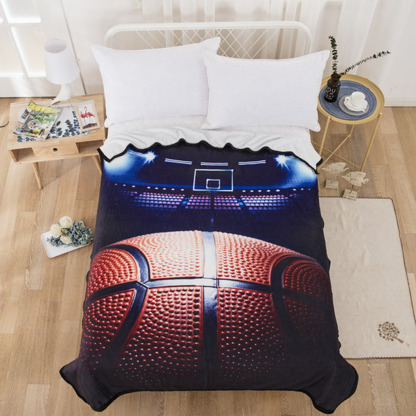 Basketbll Series Blanket High End Flannel Cool Comfortable Fashionable Throw Blankets Soft Plush Black Home Textile