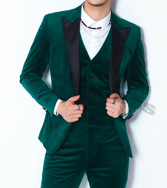2019 Men Suit Velvet Green Suits Black Peak Lapel Formal Groom 3 Pieces Suits Separately Prom Dress Party Wear Custom Made Wedding Tuxedos