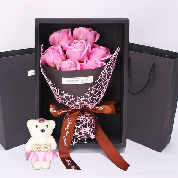 Gift Box Bouquet Romantic Love 7 Rose Home Decor Party Bear Novelty Birthday Wedding Soap Flower Simulation Valentine's Day