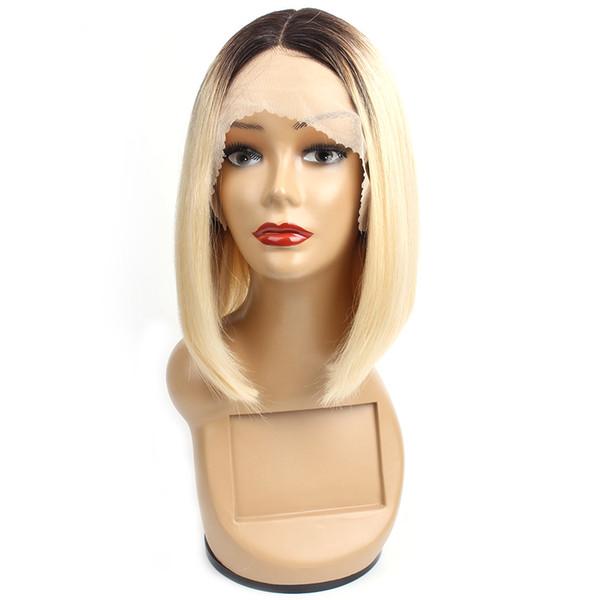 Parrucche di capelli umani 1B 613 Ombre Blonde anteriore del merletto capelli lisci 10 pollici corto stile Bob parrucche brasiliane dei capelli di Remy per le donne nere