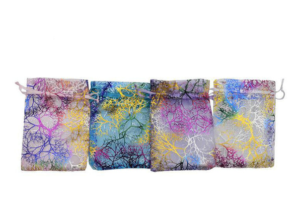 100 Pcs WHITE BLUE PINK PURPLE MIX COLORS Coral Organza Jewelry Gift Pouch Bags 4 SIZES Drawstring Bag Organza Gift Candy DIY Gift Bags