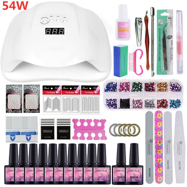 Manicure Set 36/54W UV LED Nail Lamp Dryer For Nail Kit 10PCS Gel Polish Varnish Extension Brushes Tools Kit For Manicure