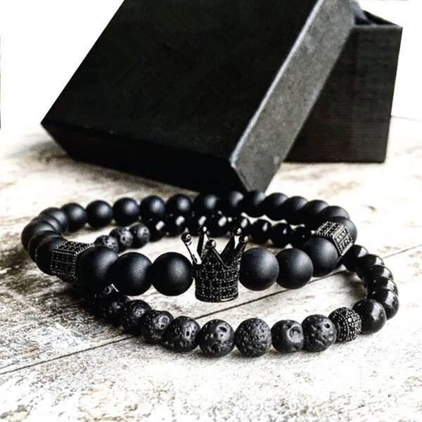 2pcs / set Uomo Donna Bead Bracelet Crown Charm Bangle perline naturali Bracciale Buddha per le donne e Mens Pulseras Masculina