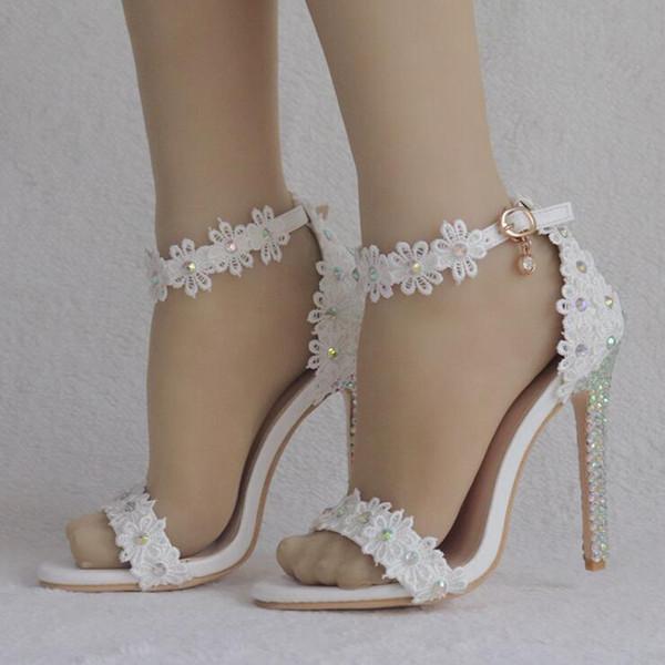 Kadın Rhinestone Dantel Toka Gelin Düğün Sandalet Ince Yüksek Topuklu Beyaz Çiçekler Kadınlar Yaz Düğün Ayakkabı Kadın 2019 Sıcak Satmak