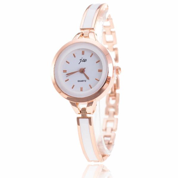 2017 estilo delgado para mujer reloj de pulsera de metal de aleación de pegamento plástico vestido de moda reloj de ocio de cuarzo damas barato al por mayor JW reloj