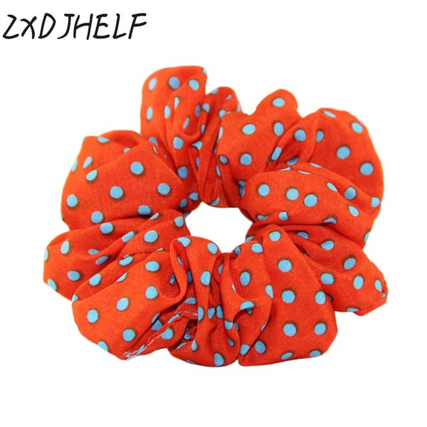 ZXDJHELF Sweet Polka Dot Hair Ring Female Hair Accessories Chiffon Scrunchies Elastic Bands For Women Girl Rubber Band F050