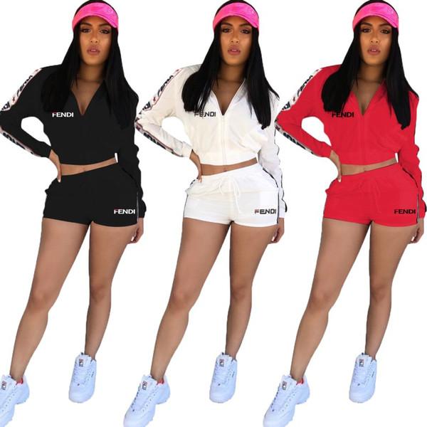 giacca da donna manica lunga tuta pantaloncini abbigliamento sportivo felpa con cappuccio legging set due pezzi tuta tuta tuta sportiva tuta tuta 0865