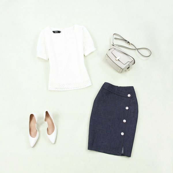 Set female 2019 summer new lace openwork shirt denim skirt two-piece temperament solid color wild fashion women's clothes