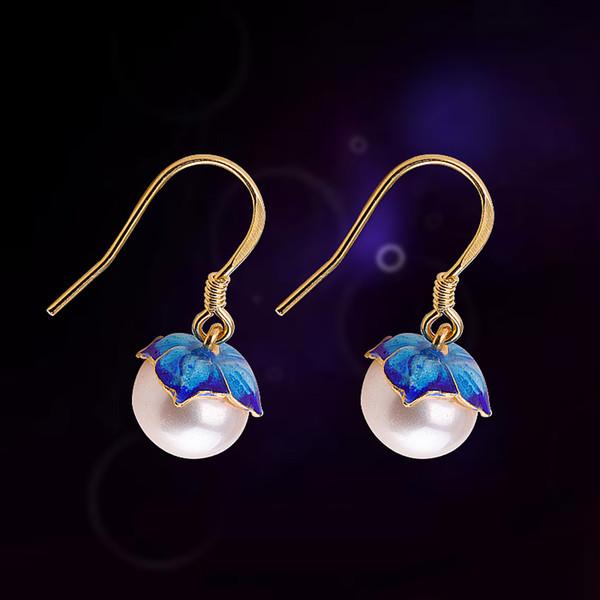Pendientes azules oro ardiente perla plateado de MetJakt Nueva S925 plata de las mujeres manera de los pendientes
