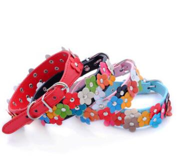 Double Rows Flowers Pet Dog Collar Colorful PU Leather Small Dog Cat Collars Lovely Puppy Teddy Kitten Necklace