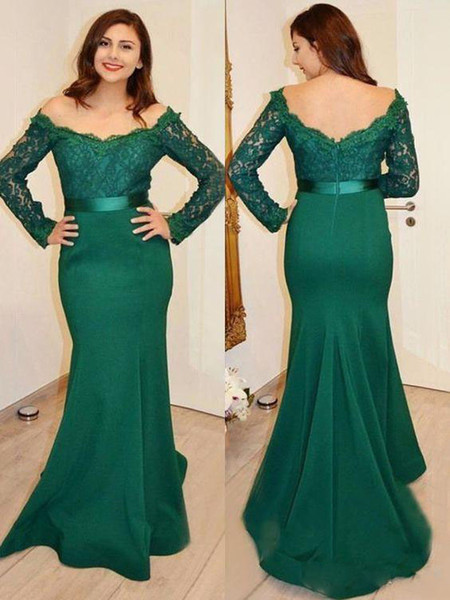 2019 Mermaid Mother Of Bride Dresses Off Shoulder Long Sleeve Satin Lace Sashes Zipper Sweep Train Evening Formal Dresses Evening Plus size