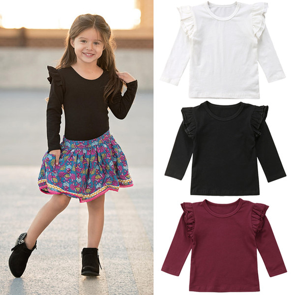 top popular Kids Baby Girls Long Sleeve Soild Blouses Shirts Ruffles Sleeves Red Black White Classic Tops Casual Clothes Brief Preppy Kids Clothing 1-6T 2021