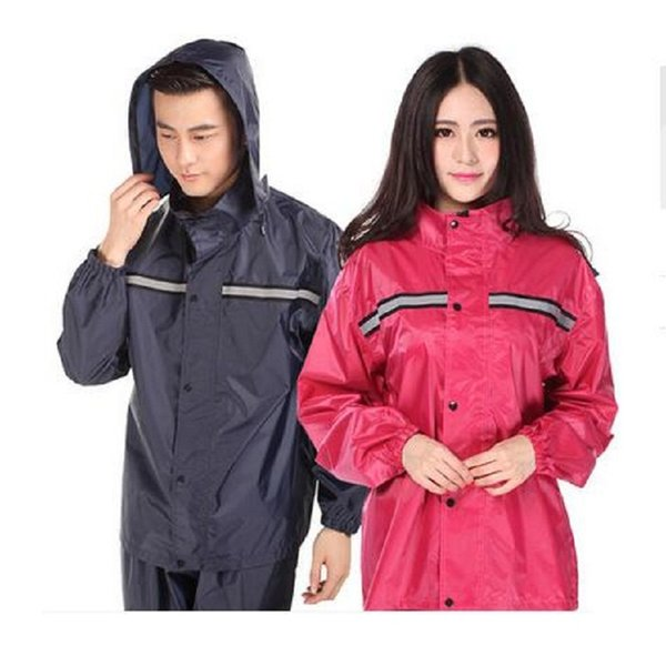 2019 Fashion Hooded Women Rain Coat Motorcycle/Electrombile Bicycle Raincoat Men Waterproof Rainwear Rain Pants Suit