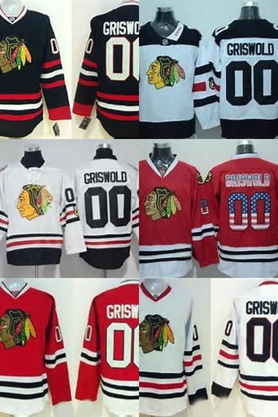 Hot Sale Mens Chicago Blackhawks 00 Clark Griswold Black Flag Bianco Rosso migliore qualità 100% il marchio del ricamo Hockey su ghiaccio pullover di formato S-3XL