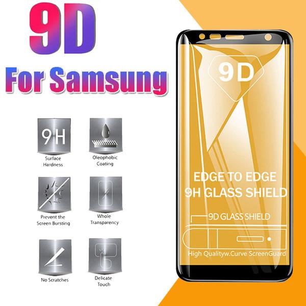 Protecteur d'écran 9D Full Cover en verre trempé à bord incurvé pour iPhone 11 Pro Max XS XR X 8 Plus Samsung S10 E M10 M20 M30 A40 A50