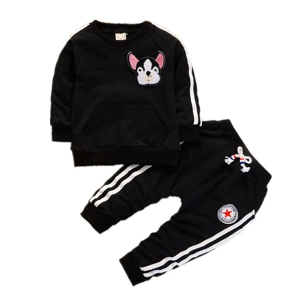 Spring Autumn Children Boys Girls Clothing Suits Fashion Baby Embroidery Cartoon Dog T-shirt Pants 2Pcs/sets Toddler Tracksuit