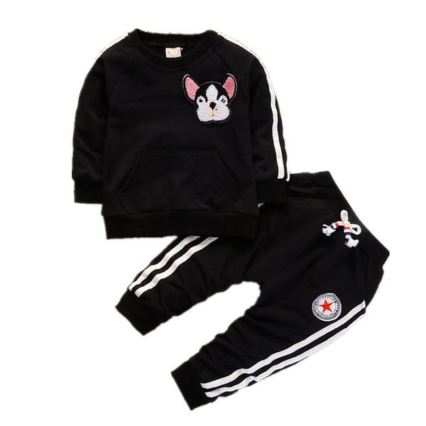 İlkbahar Sonbahar Çocuk Erkek Kız Giyim Takım Elbise Moda Bebek Nakış Karikatür Köpek T-shirt Pantolon 2 Adet / takım Toddler Eşofman