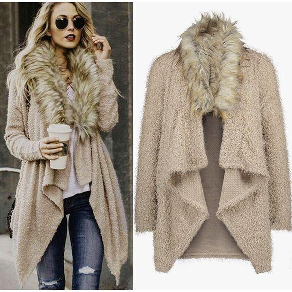 Women's Plus Size Knitted Warm Cardigan 2018 Autumn Winter Female Fashion Coat Ladies Drapped Irregular Faux Fur Streetwear