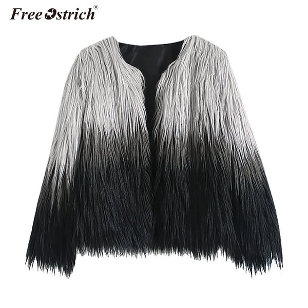 Free Ostrich Faux Fur Coat Female Coats Autumn Winter Casacos De Inverno Feminino Women Jacket Long Sleeve Overcoat N30