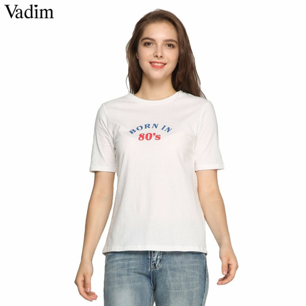 Vadim Women Stylish Letters Print T Shirt O Neck Short Sleeve Basic Tees Ladies Summer Casual White Tops Camisetas Dt1414 Y190123